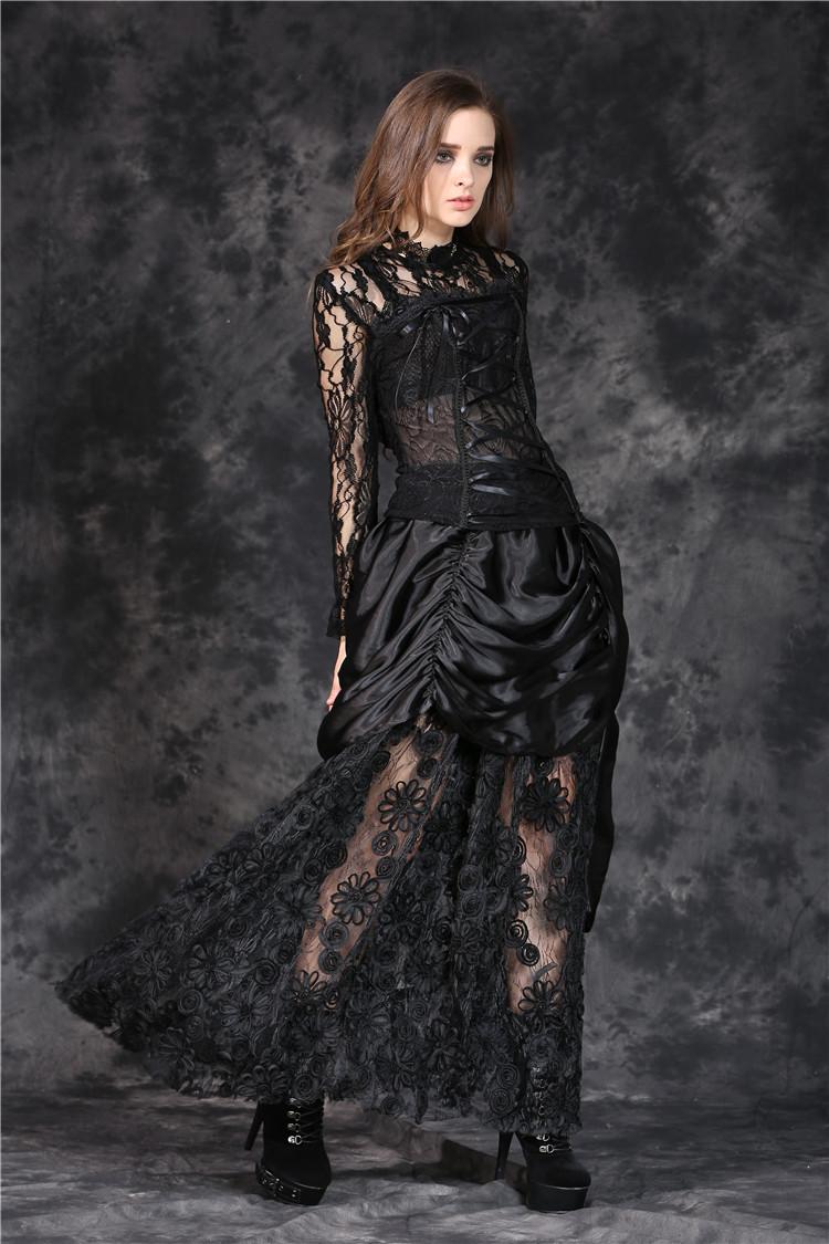 5f12694cce2 Longue jupe gothique romantique en satin et dentelle dark in love