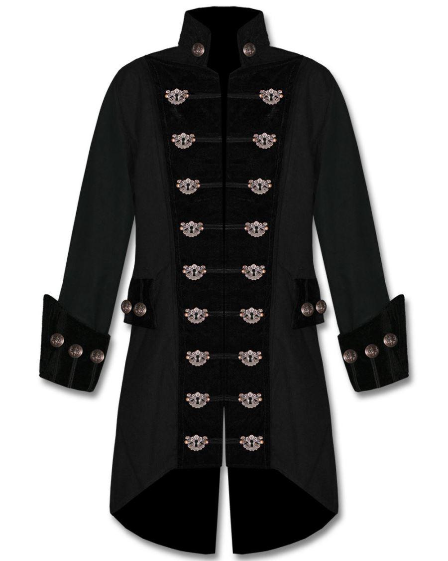 Veste gothique noire pour homme style pirate S.D.L d3kb 2b6f0ccb9d9