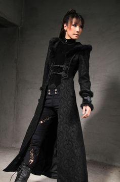 long manteau gothique femme en velours noir avec capuche. Black Bedroom Furniture Sets. Home Design Ideas