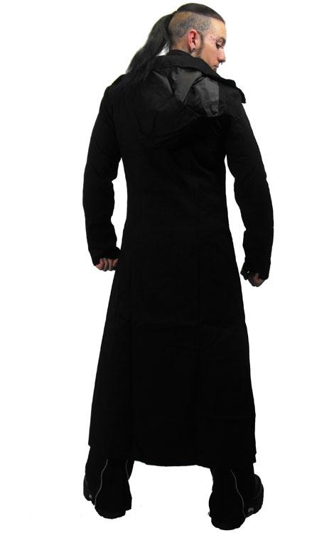 long manteau gothique noir avec col recouvrant le visage. Black Bedroom Furniture Sets. Home Design Ideas