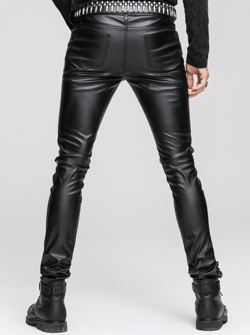 pantalon gothique homme look cuir noir devil fashion coupe pr s du corps