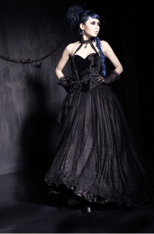 grande robe bustier gothique punk rave en velours satin. Black Bedroom Furniture Sets. Home Design Ideas