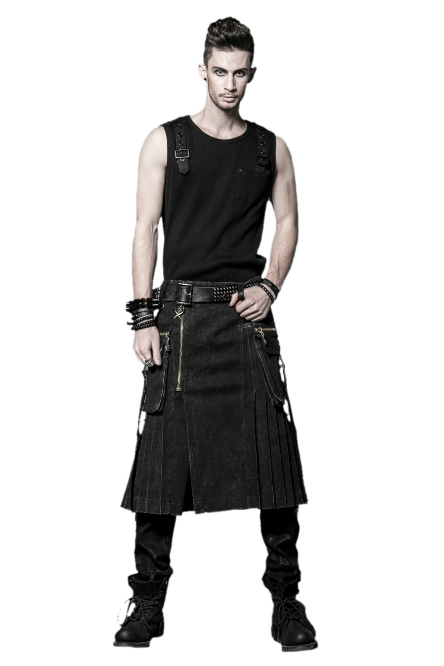 kilt gothique noir punk rave q225 en tissu jean. Black Bedroom Furniture Sets. Home Design Ideas