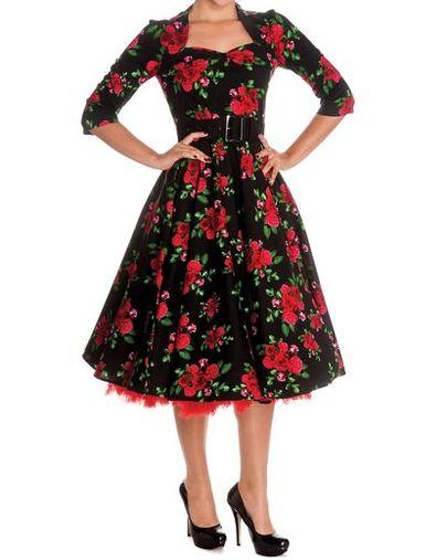 Robe noire a fleurs rouges
