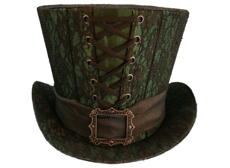 chapeau gothique haut de forme en tissu taffetas vert style dracula. Black Bedroom Furniture Sets. Home Design Ideas