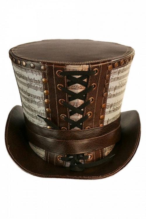 Chapeau steampunk haut de forme en simili cuir marron