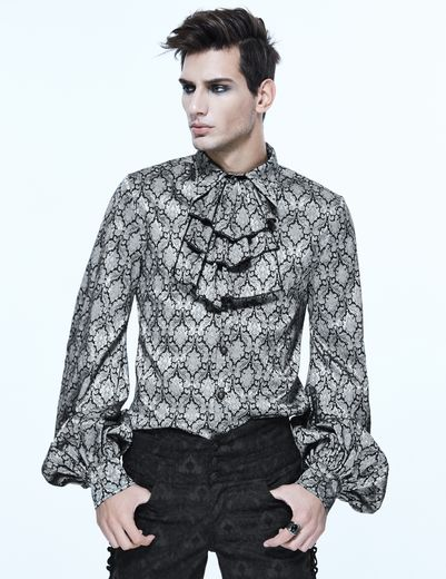 chemise gothique jabot homme devil fashion sht026 noire et grise. Black Bedroom Furniture Sets. Home Design Ideas