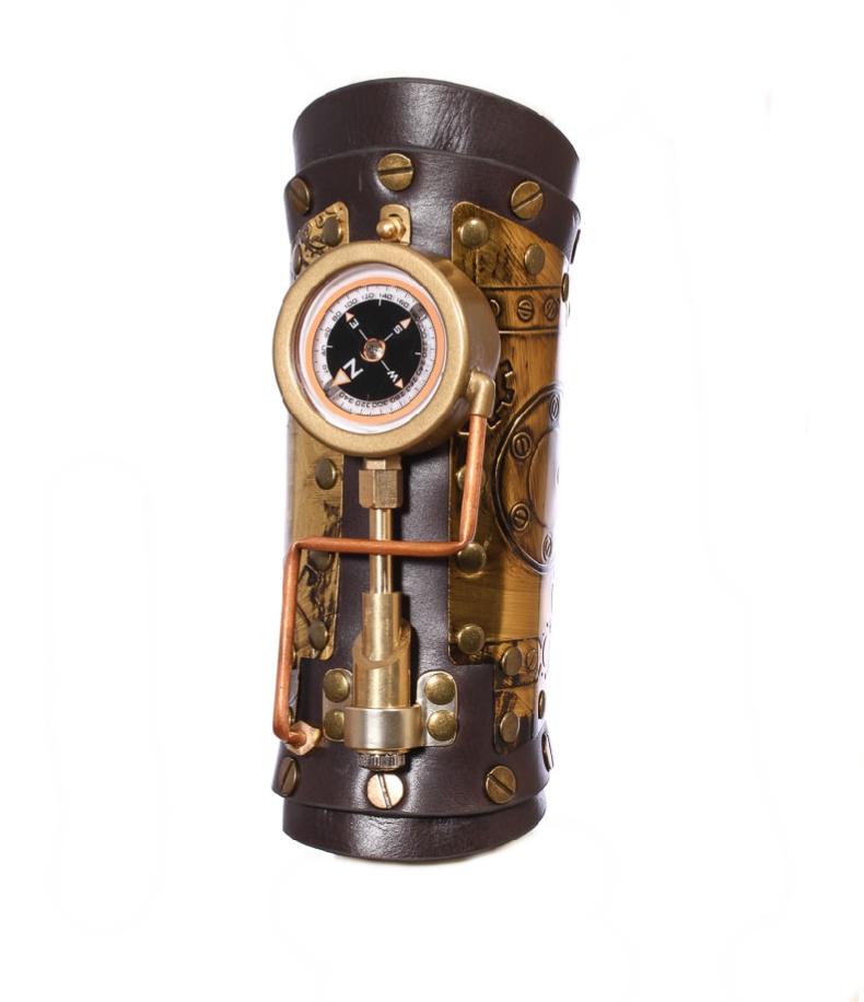 Bracelet cuir steampunk équipé d'une boussole et d'une led