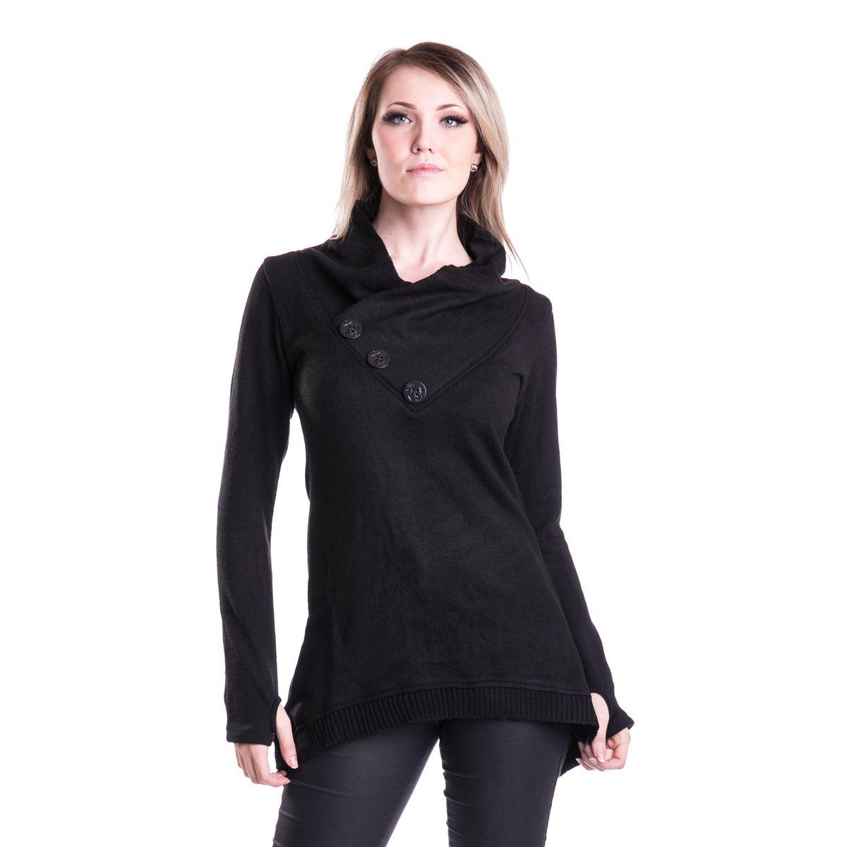 grand pull gothique femme en laine synth tique noire. Black Bedroom Furniture Sets. Home Design Ideas