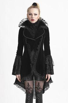 Veste gothique vampire femme en velours noir