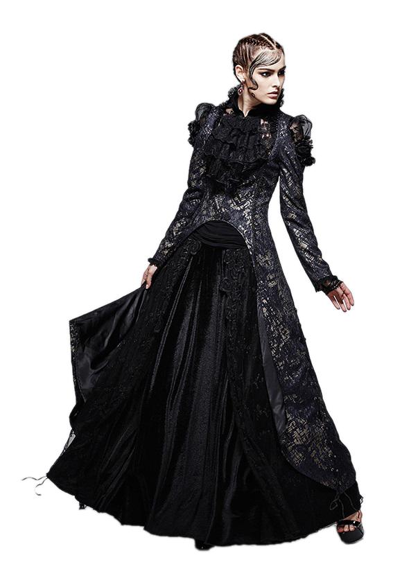 Longue Veste Gothique Victorienne Femme En Tissu Bleu Et Or