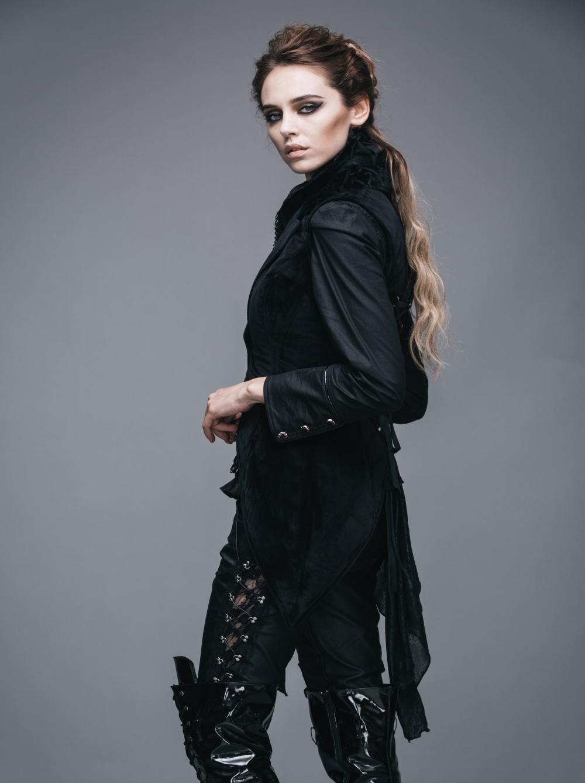 Noir Fashion Femme Manches Gothique Sans Devil En Veste Velours gHvq6 945ebe55cd3