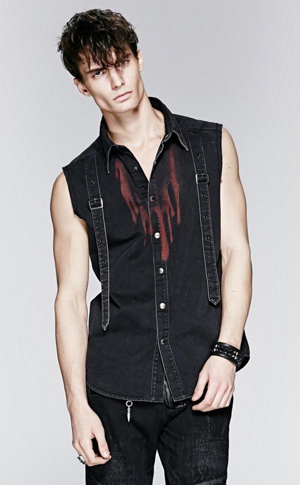 chemise gothique homme sans manches avec des taches de sang. Black Bedroom Furniture Sets. Home Design Ideas