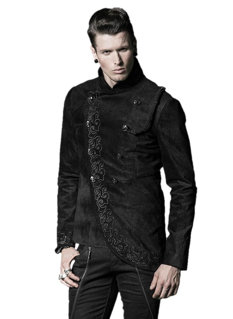 veste gothique homme punk rave en velours noir orn e de. Black Bedroom Furniture Sets. Home Design Ideas