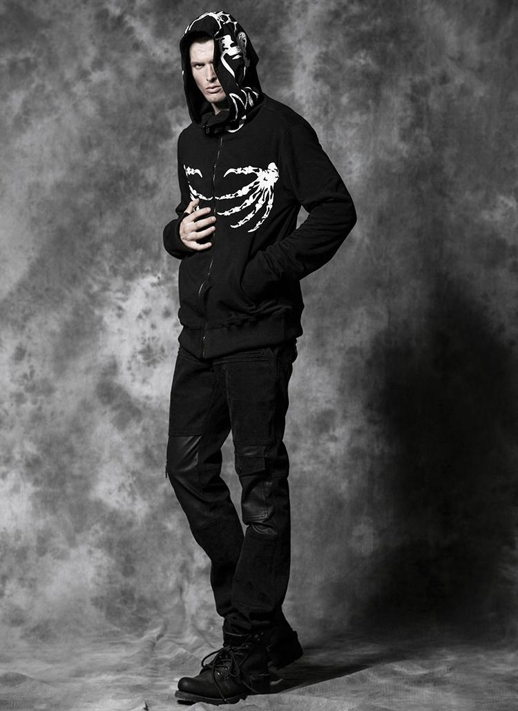 Grande Zippée Noir Punk Homme Capuche Vampire Gothique Veste Avec p1T4F1