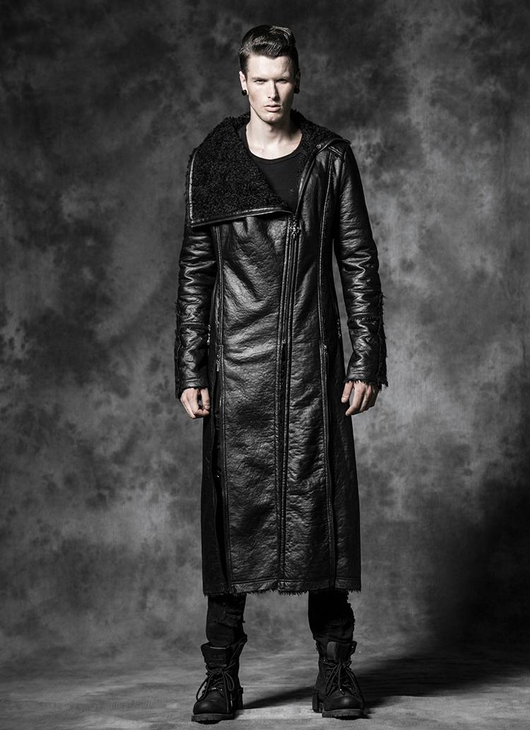long manteau gothique homme en simili cuir noir punk rave y485. Black Bedroom Furniture Sets. Home Design Ideas