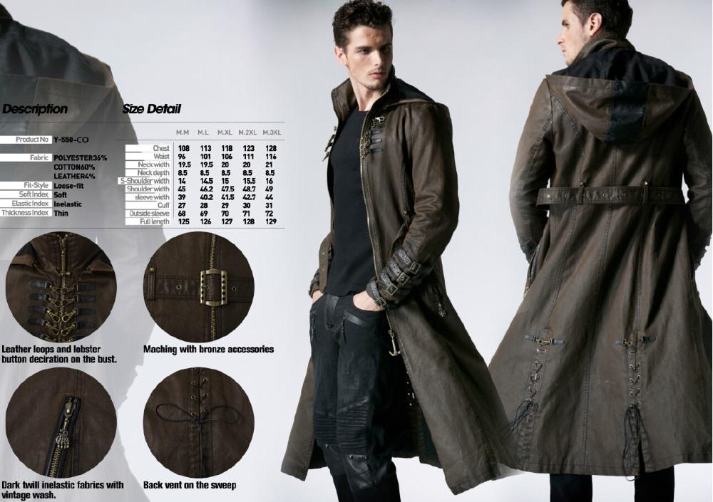 grand choix de 2019 sélectionner pour véritable magasin en ligne Long manteau steampunk homme marron