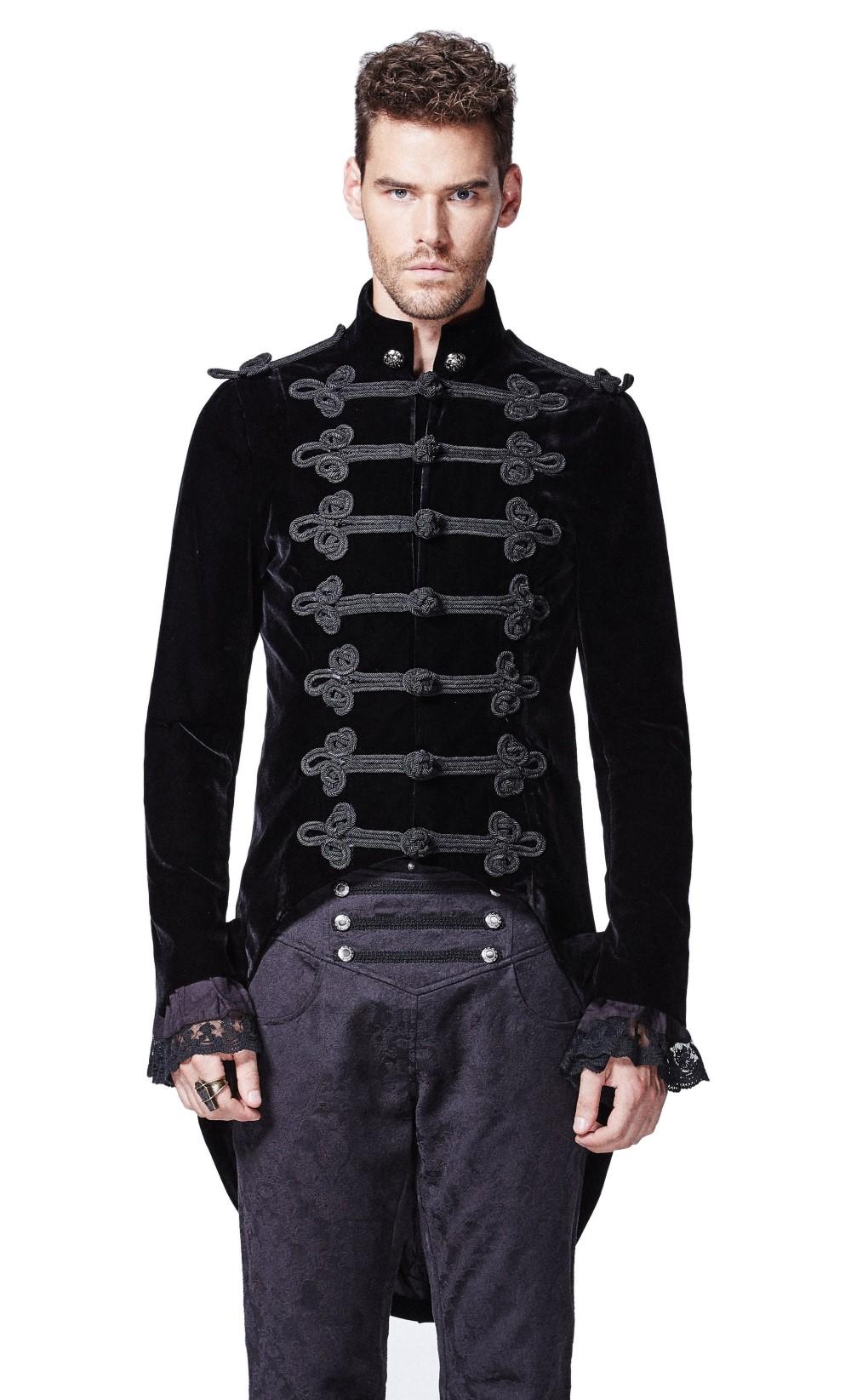 veste gothique homme en queue de pie en velours noir. Black Bedroom Furniture Sets. Home Design Ideas