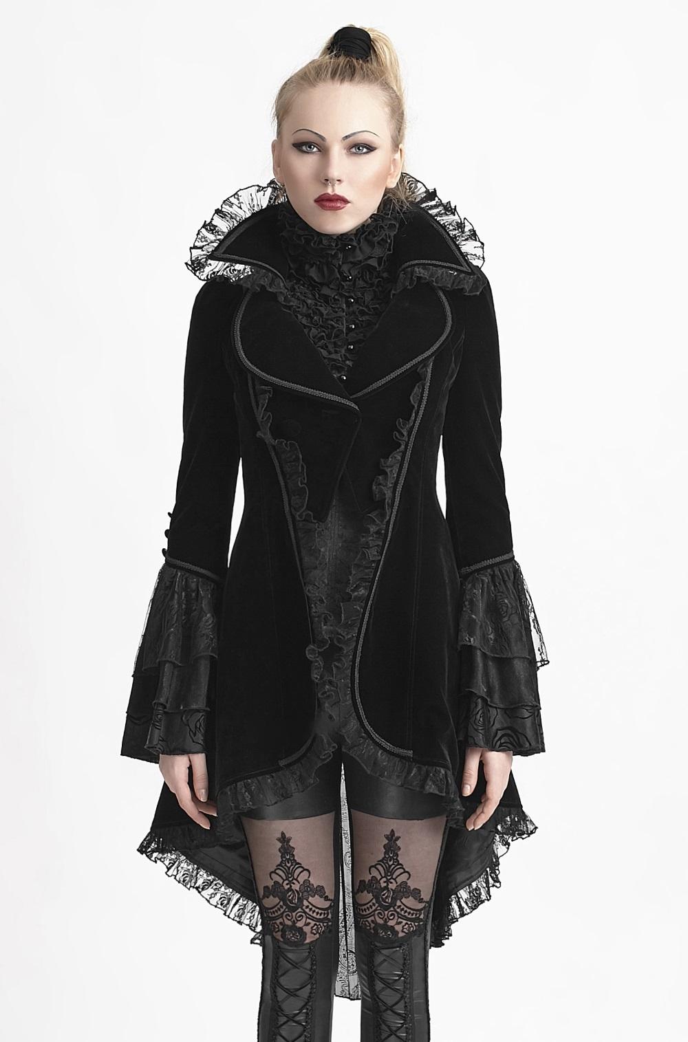 Veste gothique vampire femme punk rave en velours noir 6c10c89e7f4