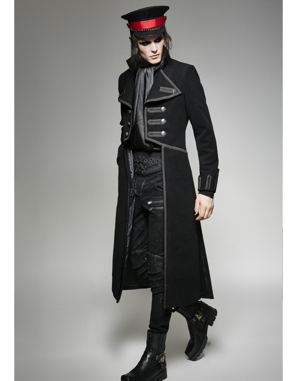 Manteau gothique homme en laine synth tique noire - Steampunk style vestimentaire ...