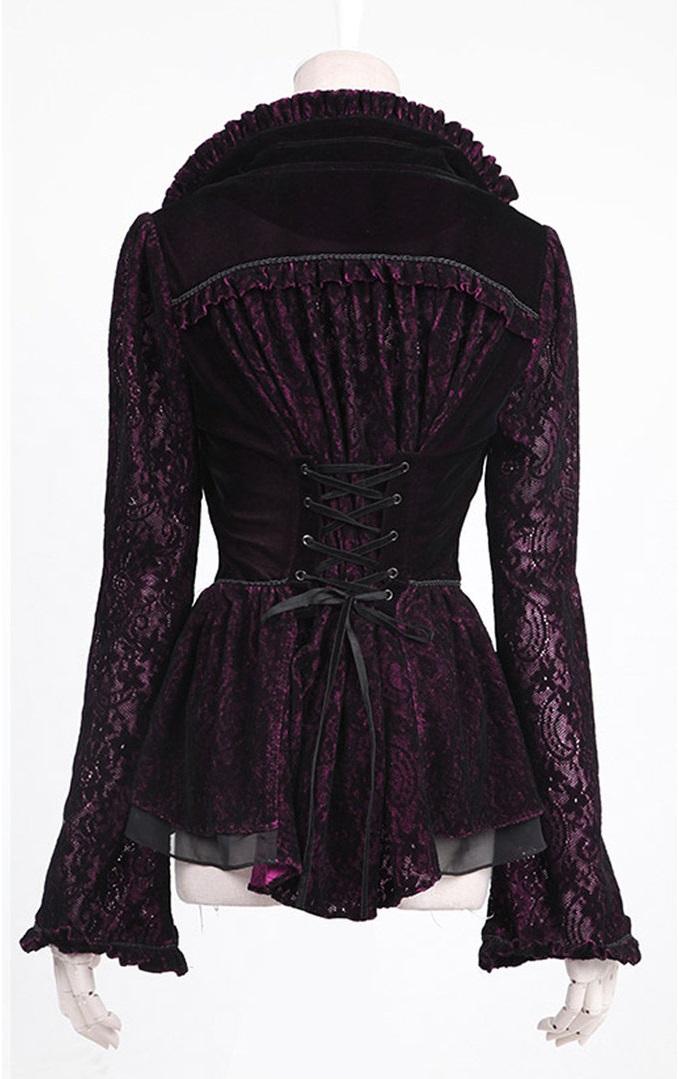 Veste gothique vampire noir et rouge pour femme 'carmilla'